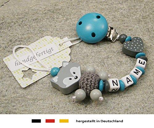 M/ädchen /& Jungen Motiv Fuchs und Herz in t/ürkis Schnullerhalter mit Wunschnamen Baby SCHNULLERKETTE mit NAMEN grau
