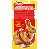 Living World Adjustable Harness and Lead Set for Rabbits, Red