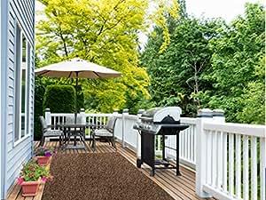 BEAULIEU 12'X2' marrón marrón para interiores/al aire libre césped artificial hierba alfombra con un marino respaldo