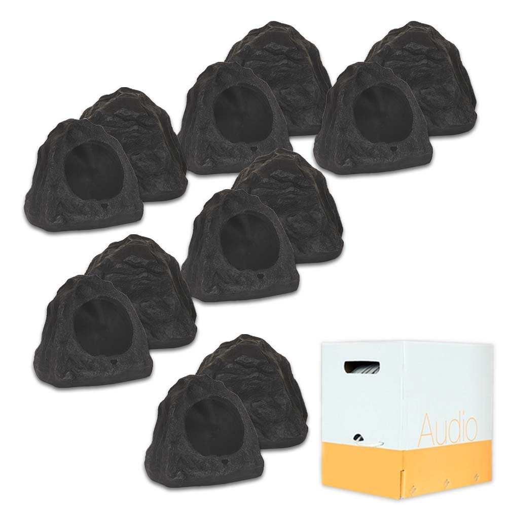 Theater Solutions 12R6L Outdoor Waterproof 6.5'' Lava Rock Speakers 12 Piece Set 4800 Watts with Wire 12R6LW