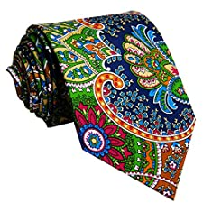 Shlax&Wing Mens Ties Neckties Paisley Multicolor Red Green Yellow Silk Handmade