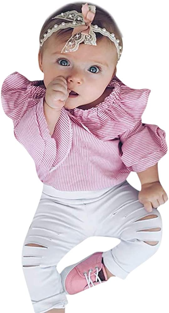 COOKI Toddler Infant Baby Girl Ruffles Striped Romper Ripped Pants Outfits Clothes Set