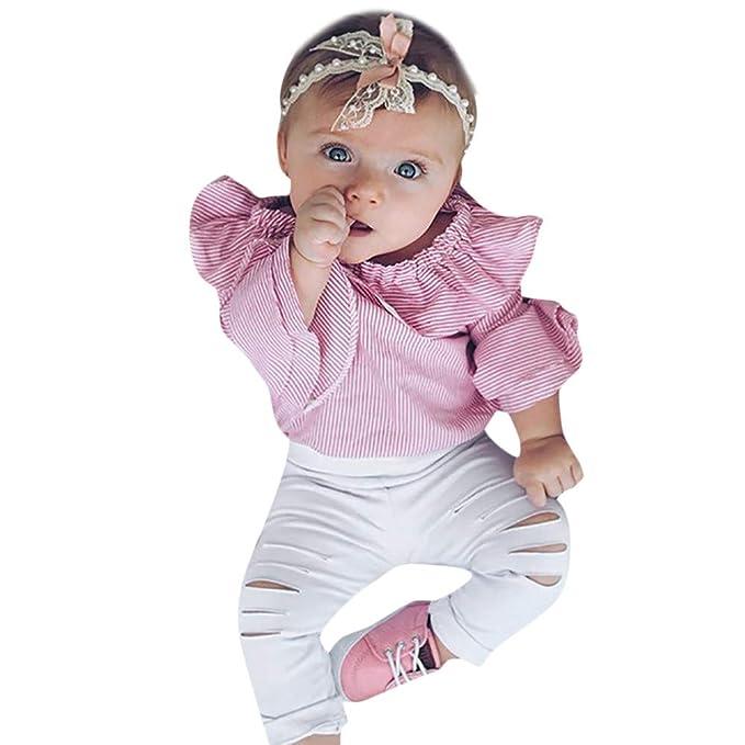 K-youth Conjuntos Bebe Niña Rayas Hombro de Ropa Body Bebe Manga Larga Monos Mameluco Ropa Bebe Recien Nacido Niña Invierno Niño Tops + Blanca Pantalones: ...