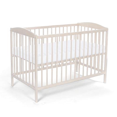 Lit pour Bébé à barreaux TOMI 5 - Barreaux amovibles avec MATELAS et drap, Blanc.