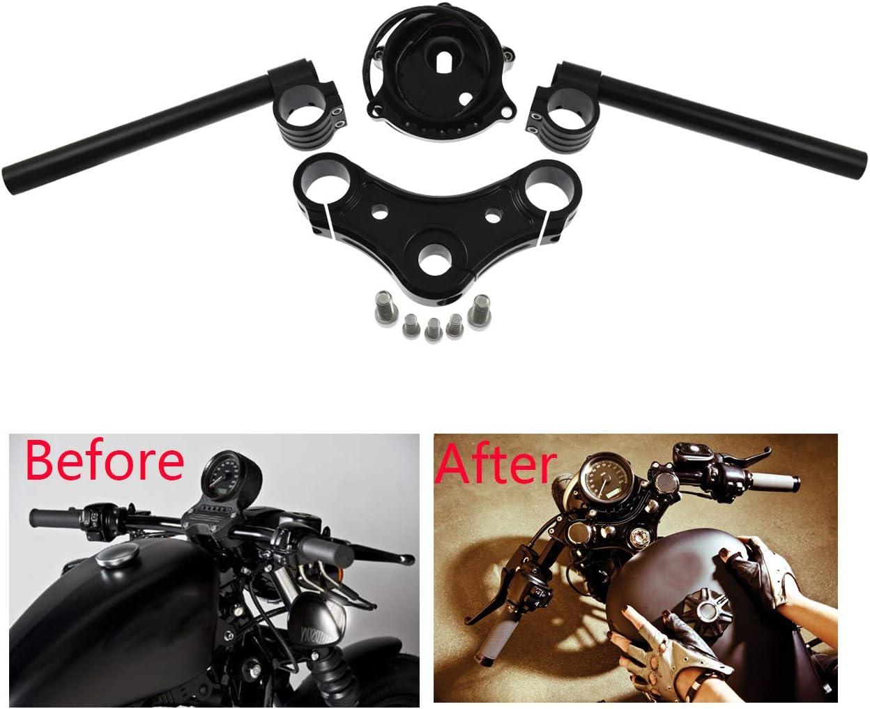 Top Triple Clamps Speedometer Gauge Bracket Clip-on Handlebar Set for Harley Sportster XL