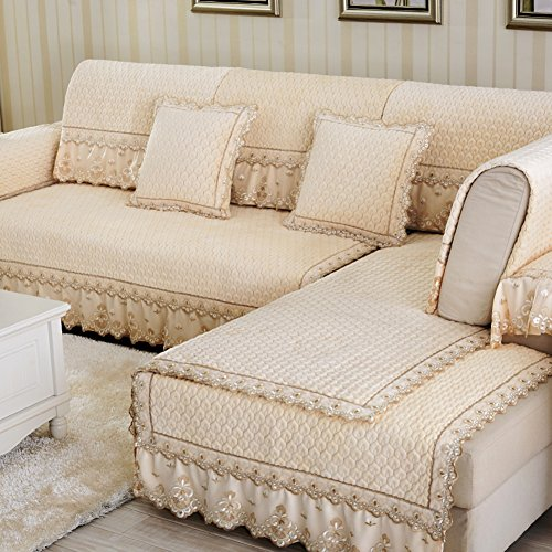 Plush Sofa slipcovers Anti-slip Quilted furniture protectors For pet dog Sectional sofa throw cover pad Solid cover Couch cover With lace-1 piece-C 28x59inch(70x150cm)