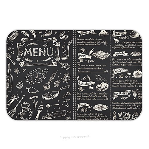 Flannel Microfiber Non-slip Rubber Backing Soft Absorbent Doormat Mat Rug Carpet Title Page And Menu List For Restaurant Sketches Food Icons Vector Chalk On A Blackboard A 423560869 for - Foods List Fancy
