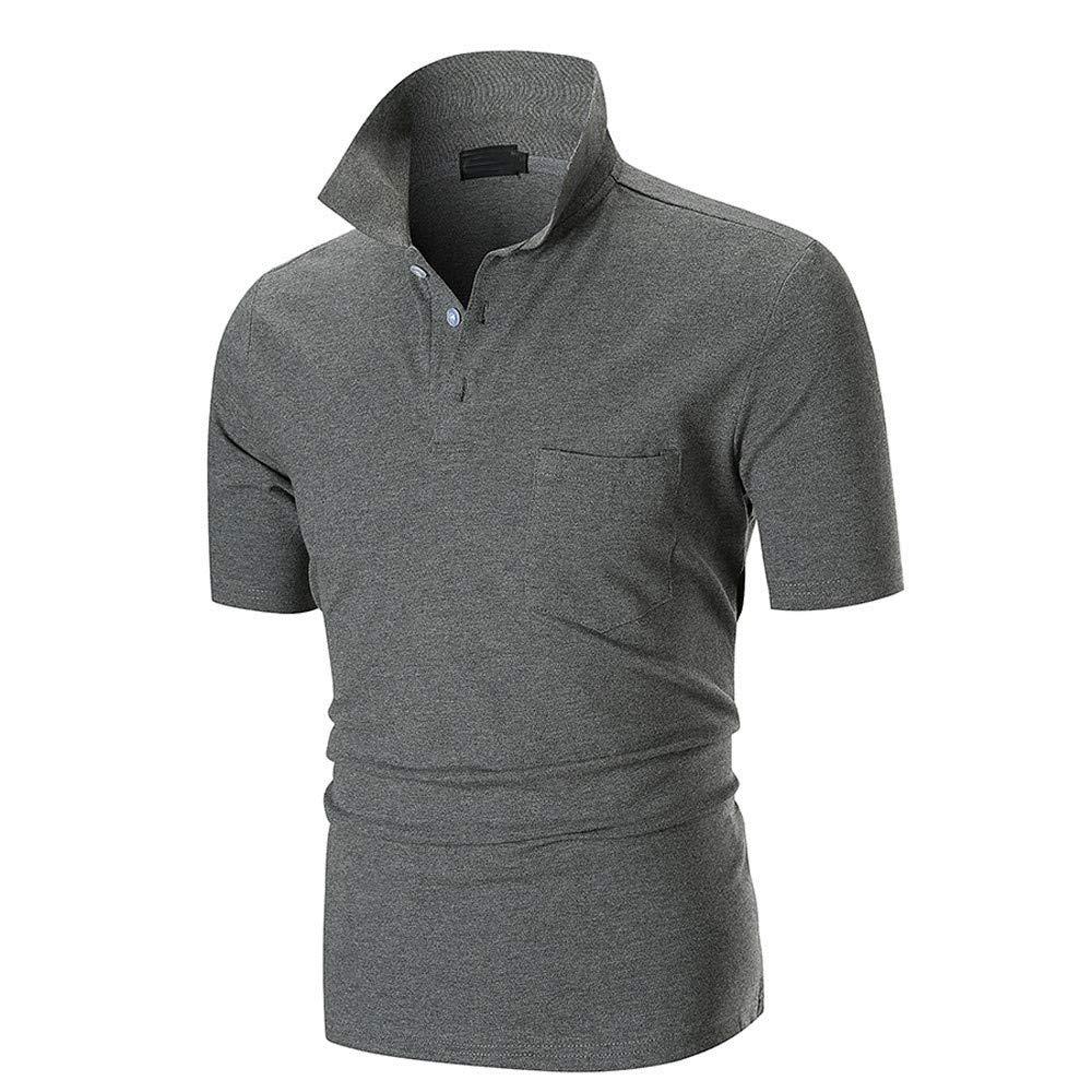 NISHISHOUZI POLO shirt Mens Polo Shirt Slim Fit Solid Polo Shirts Short Sleeve Stand Collar Shirt Short Sleeve Green