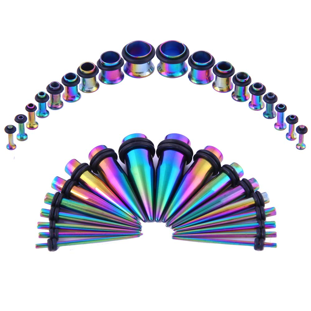 Bodystars Ear Gauges Stretching Kit - 36Pcs Stainless Steel Tapers and Plugs Set, Prefect for Heavy Metal,Punk Rock,Street or Daily Wear (Rainbow) by Bodystars