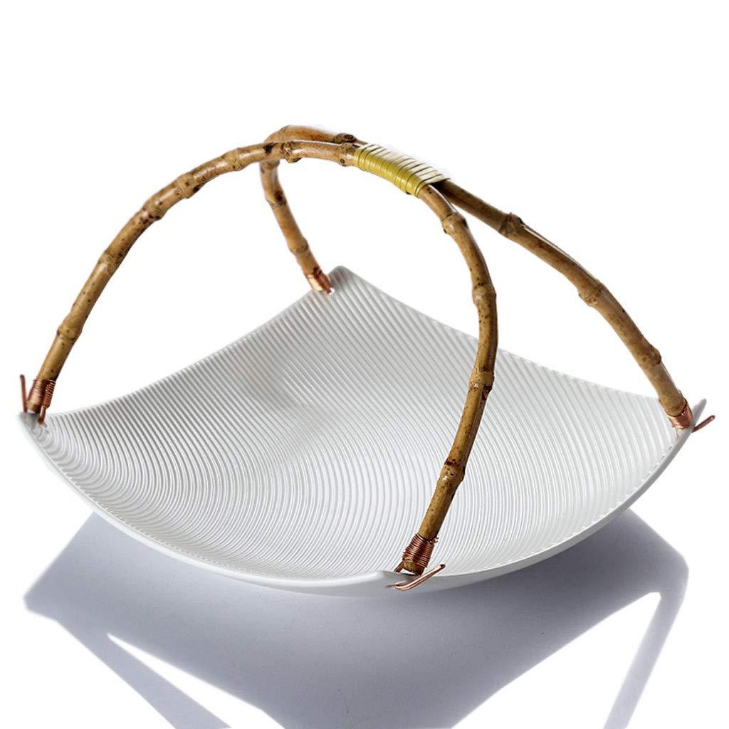 クリエイティブポータブルセラミックスフルーツディッシュフルーツバスケットプレートフルーツラックキッチンリビングルームの装飾 (色 : 白)  白 B07MXTH5C1
