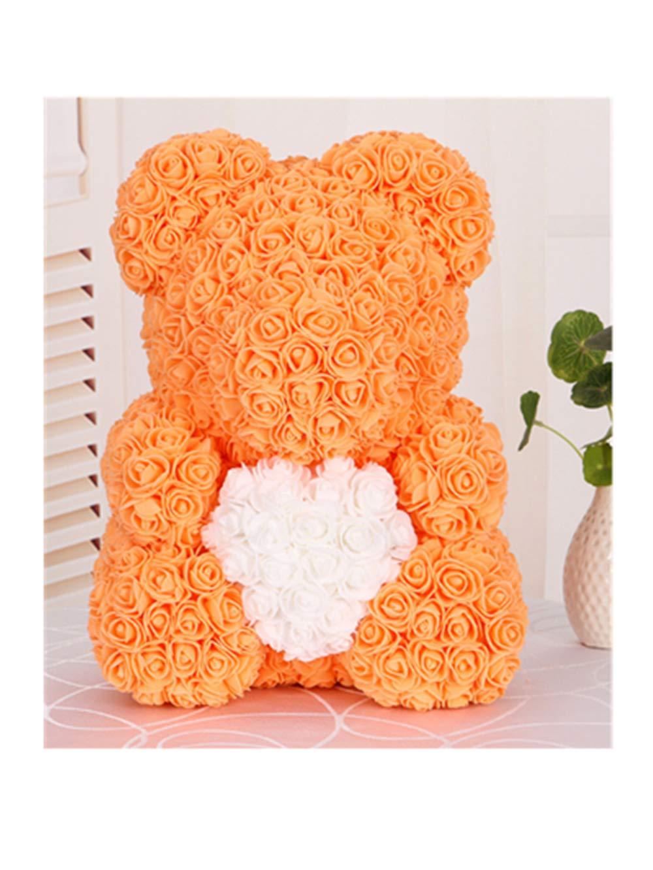 バラの熊 立つ手持ち ハート 人工 永遠の花 誕生日 お祭り 記念日 bear イエロー B07QMQY7RL イエロー bear