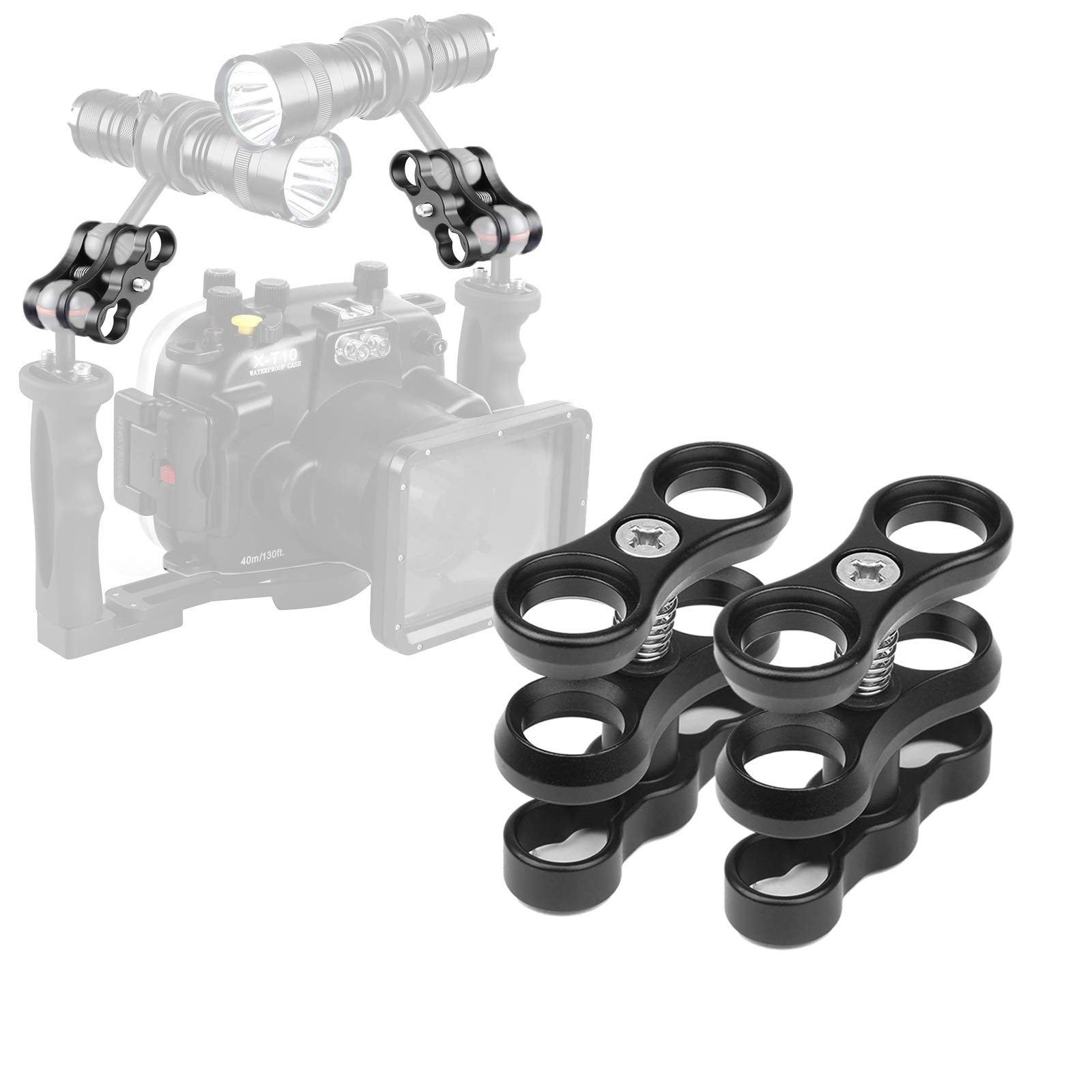 WLPREOE 2pcs 1'' Aluminum Ball Arms Clamp Mount for Underwater Diving Light Tray Handle System,CamDive, Meikon, Ikelite, TLC, Ultralight, Nauticam and Others by WLPREOE