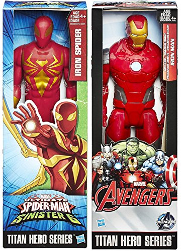 Ultimate Spider-Man vs. The Sinister Six: 2-Pack Titan Hero Series Iron Spider & Avengers Iron-man Villain and Soldier Set Marvel Hero Action Figures