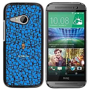Qstar Arte & diseño plástico duro Fundas Cover Cubre Hard Case Cover para HTC ONE MINI 2 / M8 MINI ( Blue Be Different Cute Character Drawing)