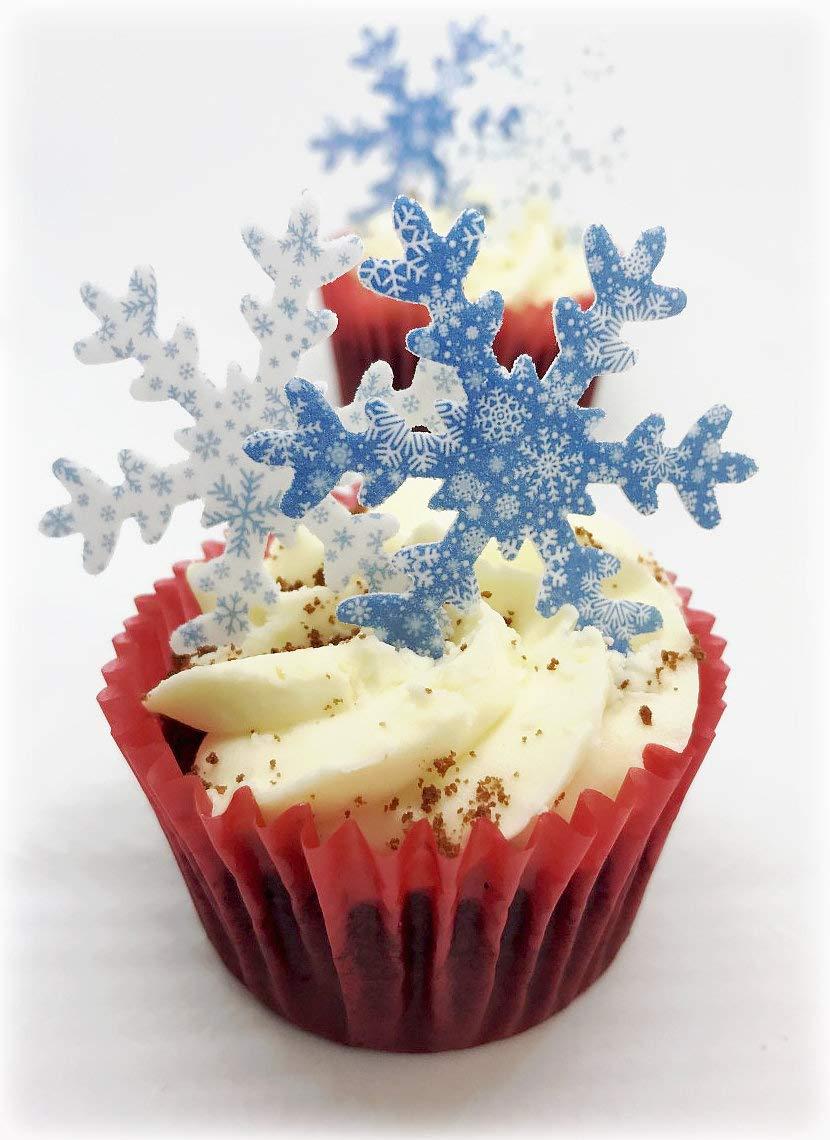50 X PreCut 25 large+25 small Snowflake Edible Rice Paper Cake BIRTHDAY FROZEN