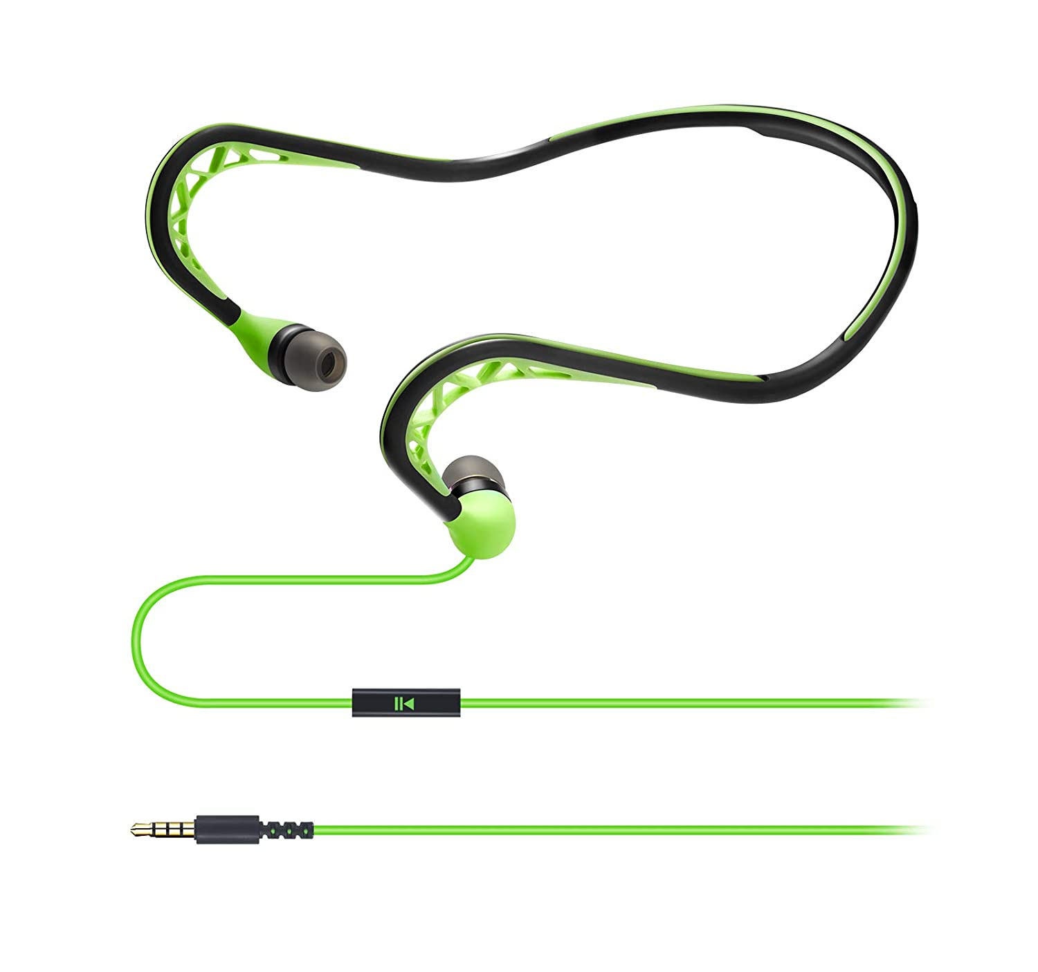 Wired Sport Running Neckband Headphones with Mic, in-Ear Stereo Workout Earphones Designed for 3.5mm Jack Plug Cell Phone Headset,Green