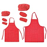 Opromo Cotton Canvas Kitchen Apron, Chef Hat and Oversleeves Family Set-Red Dot-Kid L/Adult XL