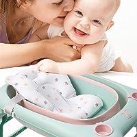 MeterMall New Baby Bath Seat Infant Shower Mat Foldable Tub Pad Newborn Bathtub Pillow Anti-Slip Soft Comfort Cushion