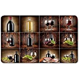 Memory Foam Bath Mat,Wine,Wine Themed Collage on Wooden Backdrop with Grapes and Meat Rustic Country Drink DecorativePlush Wanderlust Bathroom Decor Mat Rug Carpet with Anti-Slip Backing,Brown Black
