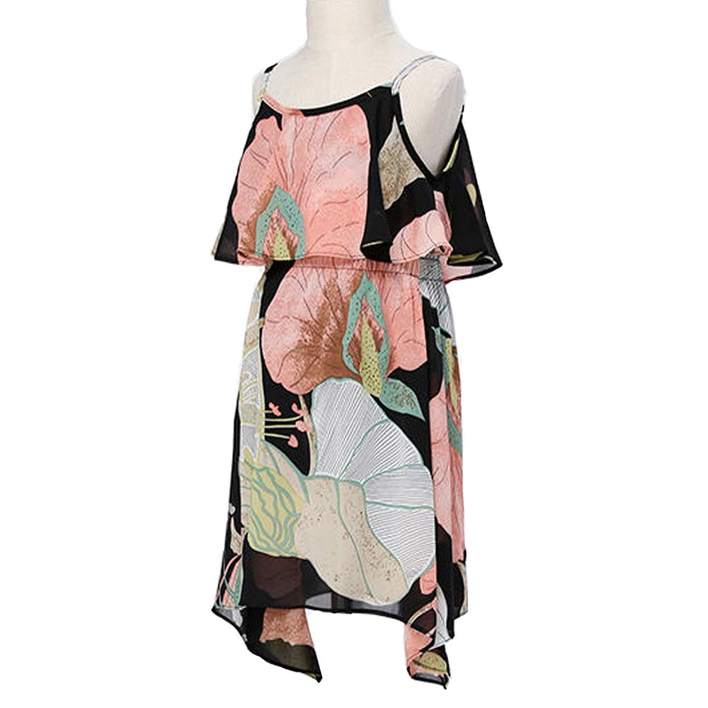 PopReal Mom and Girl Cute Shoulder-Straps Off Shoulder Floral Printed Chiffon Casual Playwear Dress by PopReal (Image #4)