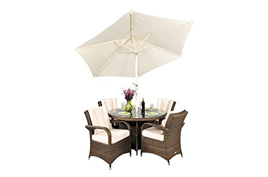 arizona rattan garden furniture 4 seat round glass top table dining set with free parasol with - Rattan Garden Furniture 4 Seater