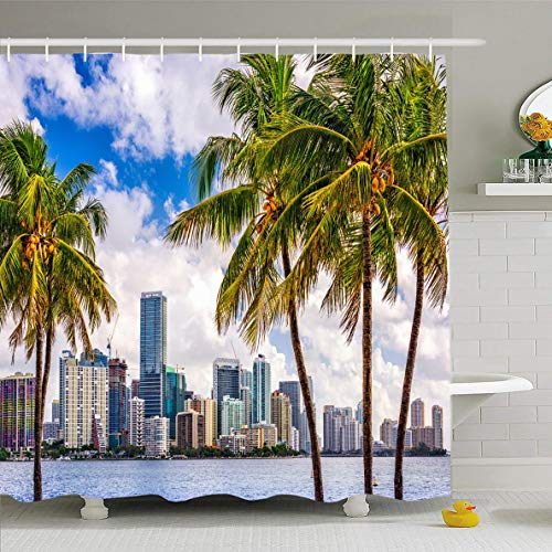 Ahawoso Shower Curtain 60x72 Inches Biscayne Beach Miami Florida USA Tropical Downtown Skyline Cityscape Parks Palm City Tree South Waterproof Polyester Fabric Set with Hooks