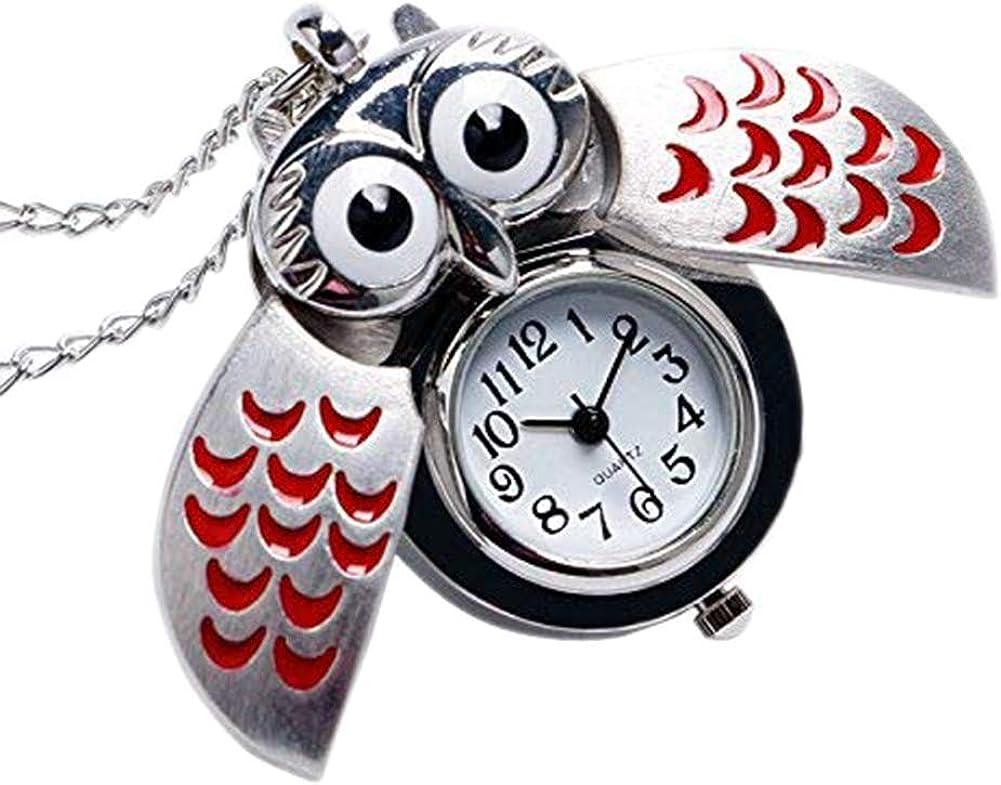 aloiness Metal Owl Llavero Reloj Llavero Bolsa Bolsillo de Coche Ornamentos Colgantes para Mujeres Hombres Recuerdo Regalo de Cumpleaños