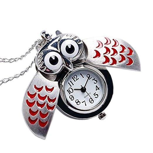 aloiness Metal Owl Llavero Reloj Llavero Bolsa Bolsillo de Coche Ornamentos Colgantes para Mujeres Hombres Recuerdo Regalo de Cumpleaños: Amazon.es: Relojes