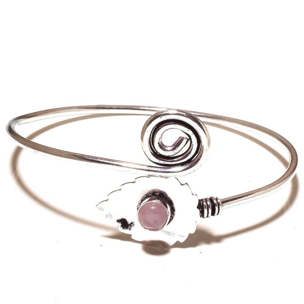 Pink Rose Quartz Sterling Silver Overlay 12 Grams Bangle//Bracelet Free Size Designer