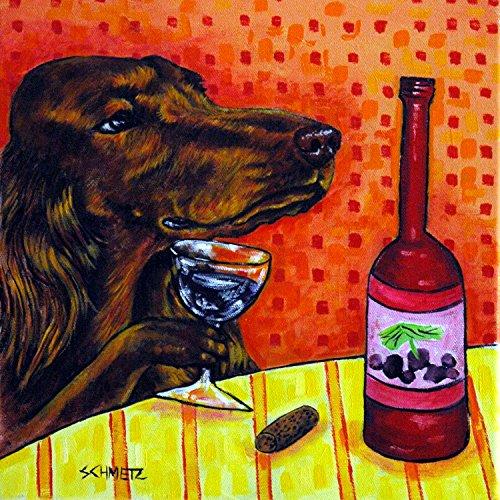 (Irish Setter at the Wine Bar decor Dog art tile coaster gift)