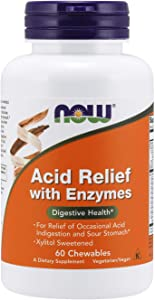 NOW Supplements, Acid Relief with Enzymes, Xylitol Sweetened, Digestive Health*, 60 Chewables