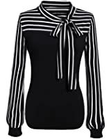 TOPUNDER Women Clothing 2018 Women Tie-Bow Neck Shirt Striped Long Sleeve Splicing Blouse by