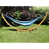 Brazilian Cotton Outdoor Double Hammock with Bamboo Stand - Blue  amp; Green Stripes