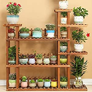 Flower Racks Flower stand Plant stand Plant flower pot rack Display shelf Shelf holds Wood plant stand Solid wood Multi-Storey Balcony Living room-A