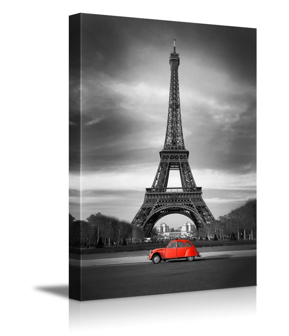 Canvas Prints Wall Art   Eiffel Tower In Black And White And Old Red Car  Retro/Vintage Style | Modern Wall Decor/ Home Decor Stretched Gallery  Canvas Wraps ...