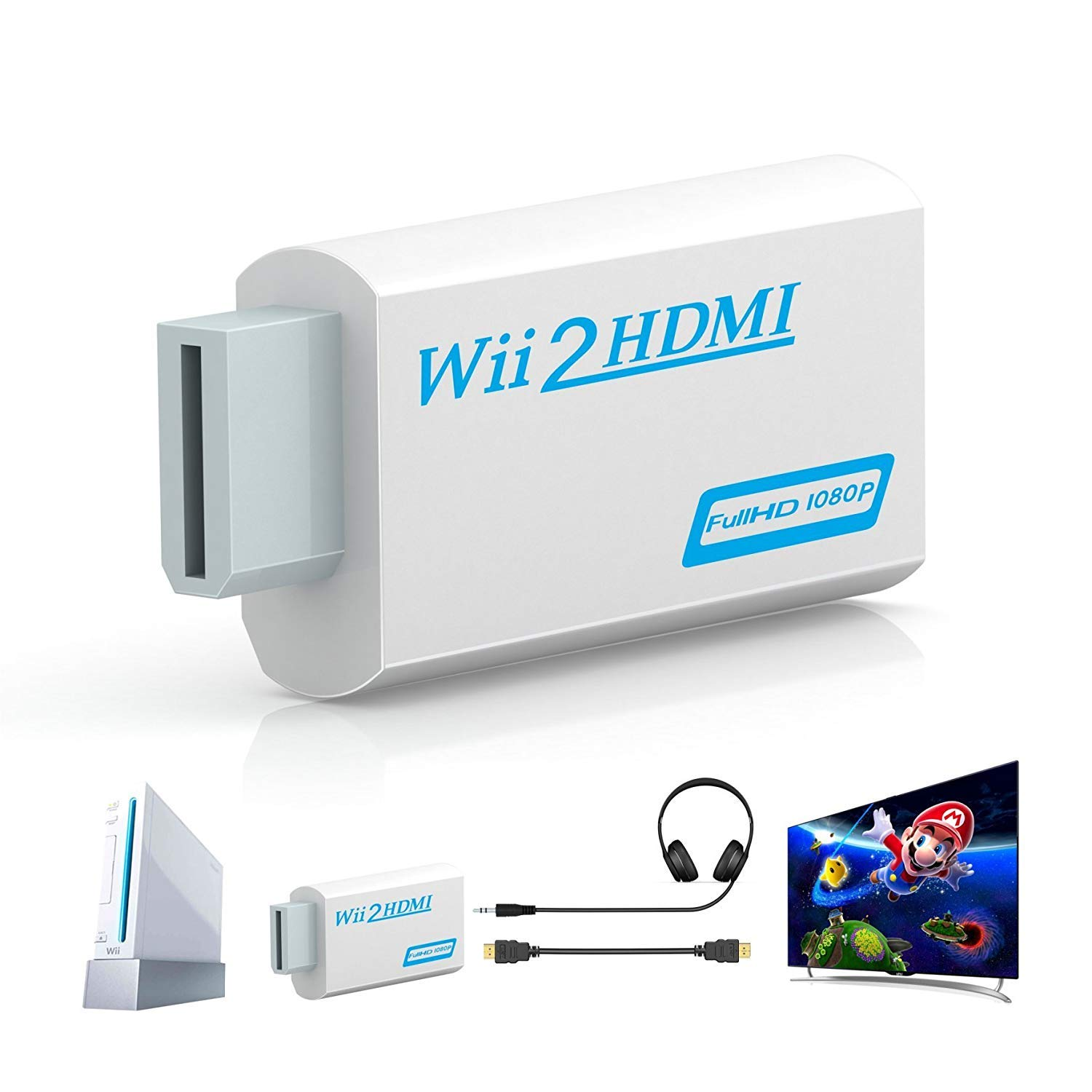 LSZZTY Wii to HDMI Converter - Supports All Wii Display Modes,1080p 720P HD Wii to HDMI Converter Output 480i Upscaling Adapter, Adapters Converter