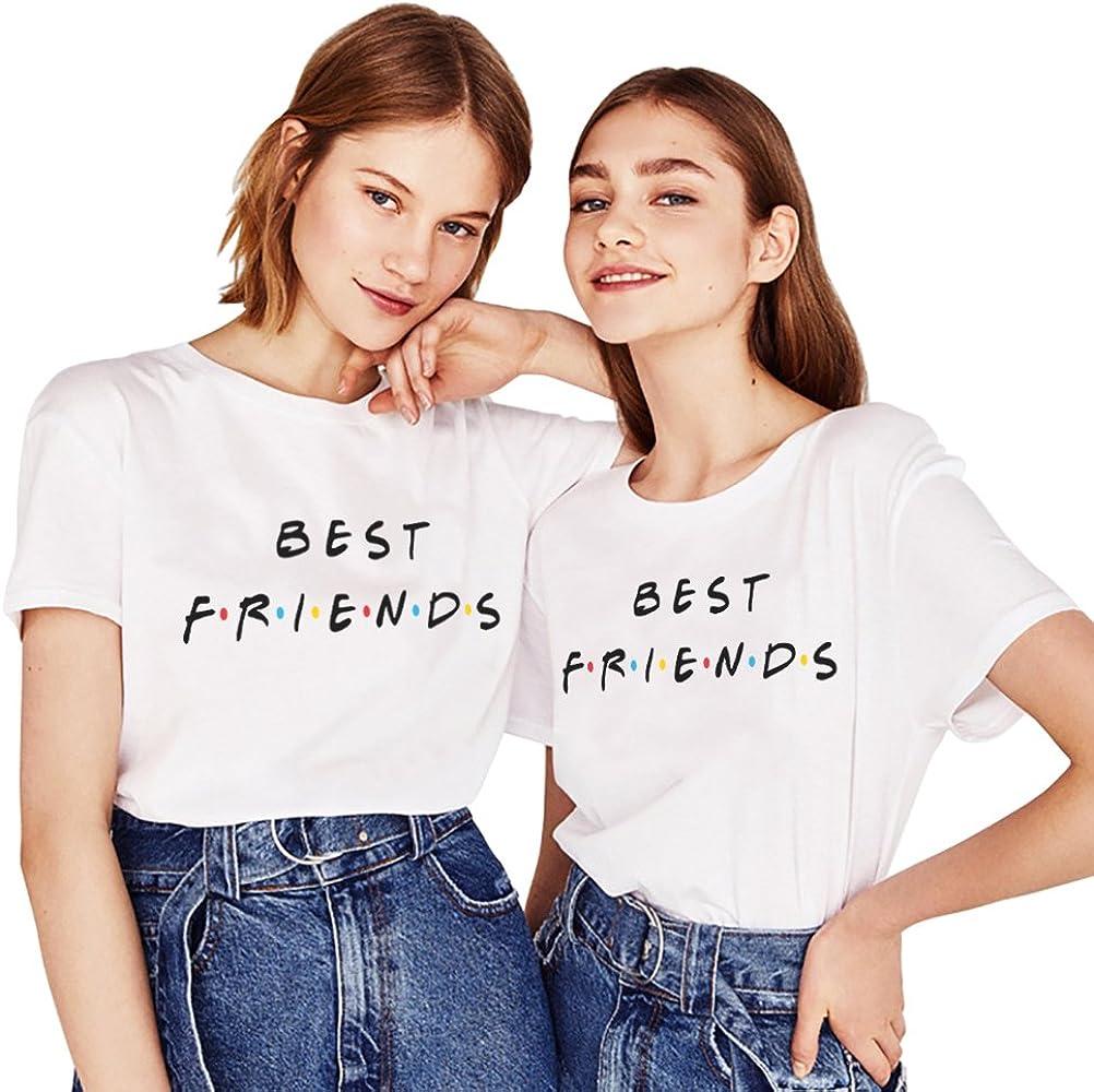 Mejores Amigas Shirt 2 Piezas Impresión Camiseta Best Friend Manga Corta T-Shirt TV Show Cuello Redondo Logo Verano para Mujer Elegante Moda Casual Tumblr(Blanco+Blanco, S+M): Amazon.es: Ropa y accesorios