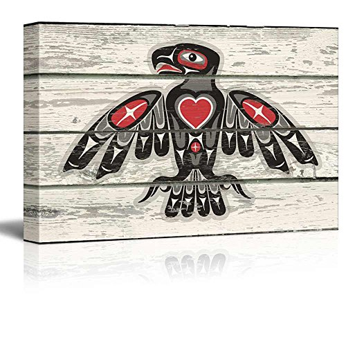 Red and Black Native American Indian Totem Bird Art Rustic