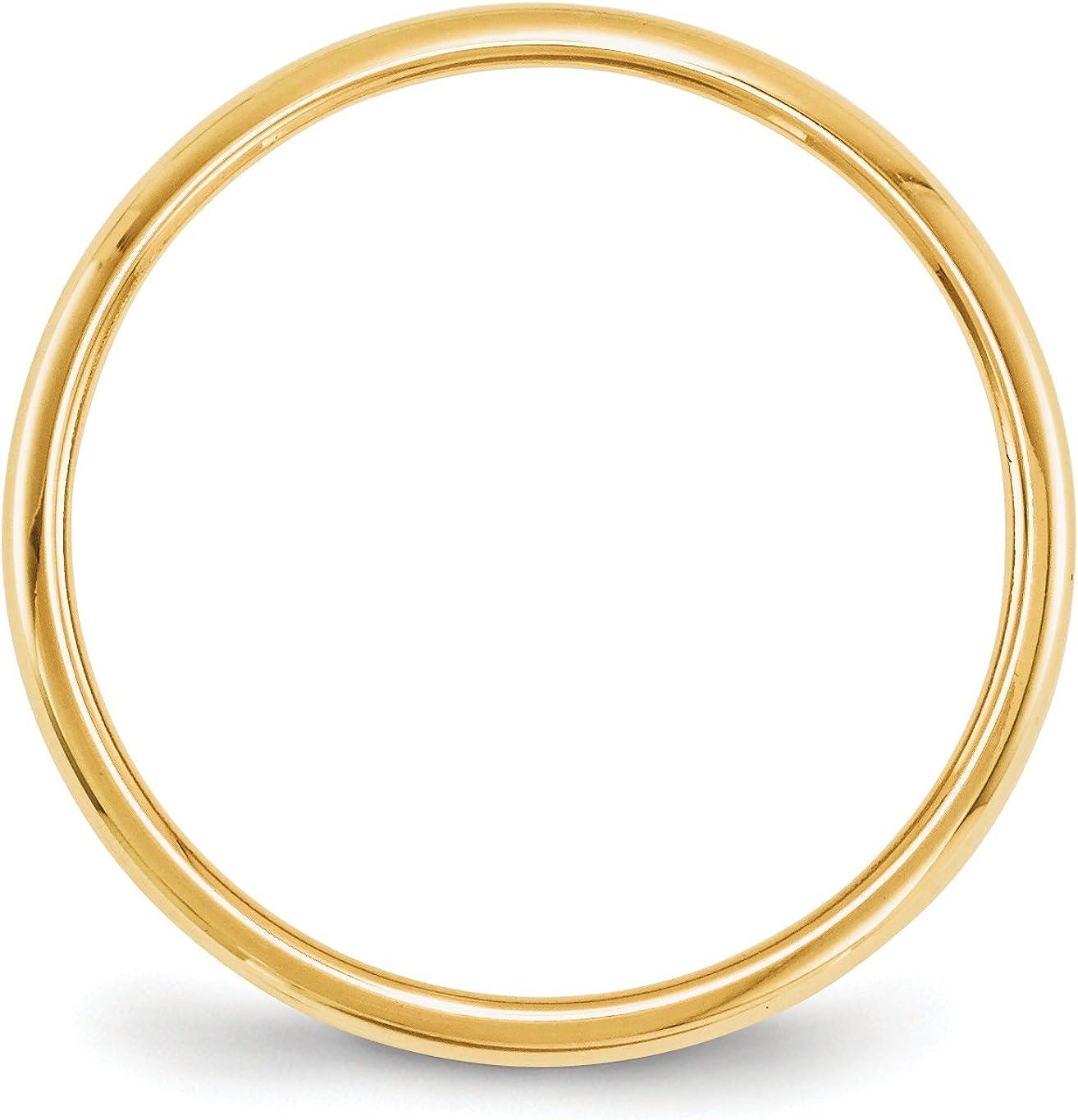 14K Yellow Gold 2mm Half Round Band