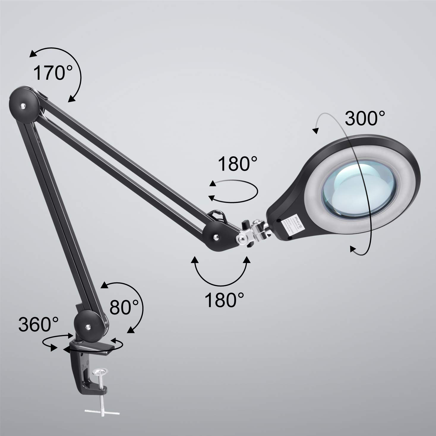 LED Magnifying Lamp, PHIVE Daylight Bright Magnifier Desk Lamp, Dimmable Task Lamp with Clamp, 5 Diopter, 5'' Diameter Lens, Highly Adjustable Swing Arm Craft, Workbench, Drafting, Work Light by PHIVE (Image #2)