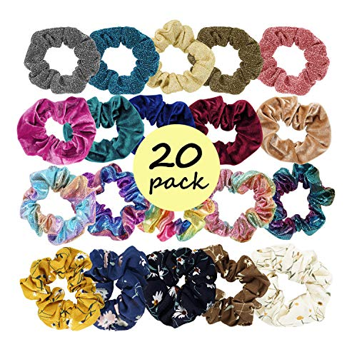 JERXUNY Hair Scrunchies 4 Series 20 Pack Elastic Hair Ties for woman and girls Hair Accessories (20, pink)