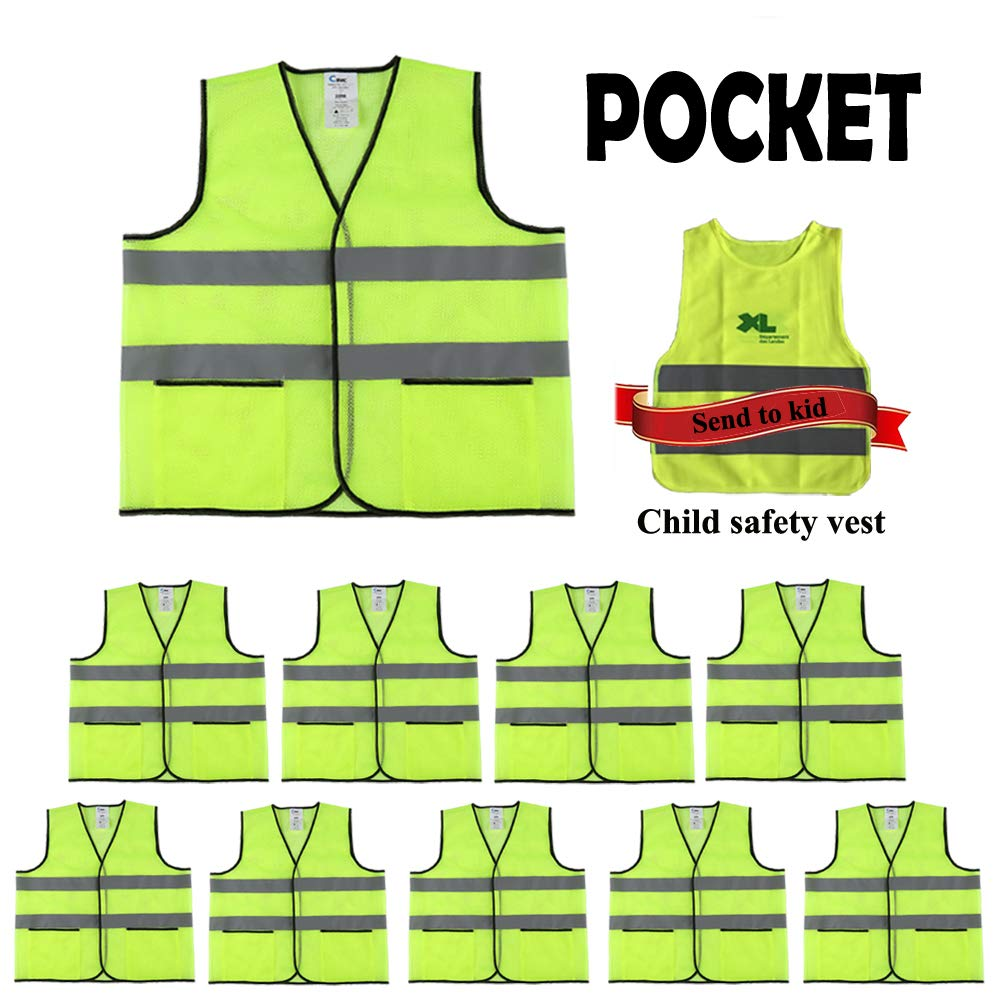 CIMC,Yellow Reflective Safety Vest with Pockets,10 Pack,Bright Construction Vest with Reflective Strip,Made from Breathable Neon Yellow Mesh Fabric,High Visibility Vest for Woman and Men (neon yellow) by CIMC SAFETY