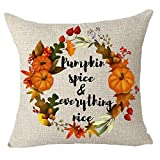 """FELENIW Happy fall y'all harvest autumn Maple Leaf wreath pumpkin spice and everything nice Throw Pillow Cover Cushion Case Cotton Linen Material Decorative 18"""" x18'' Square"""