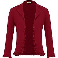 GRACE KARIN Women 3/4 Sleeve Casual Cropped Blazer Jacket Open Front Cardigan