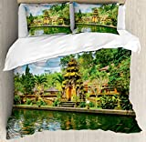Balinese Decor Duvet Cover Set by Ambesonne, Tirta Empul Temple Bali Indonesia Exotic Trees Oriental Building Fish Lake Photo, 3 Piece Bedding Set with Pillow Shams, King Size, Green Yellow