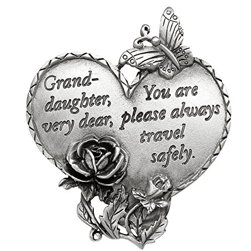 Butterfly Visor - Travel Safely Pewter Heart Visor Clip in Multiple Saying Options with Butterfly and Flower Accents, Granddaughter, Granddaughter