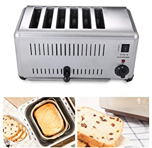 NEWTRY Commercial Toaster 6 Slice Stainless Steel Toaster Heating Machine Adjustable Suitable for Hotel Breakfast ETS-6 (110V)