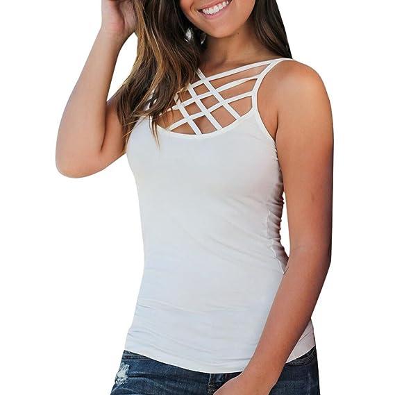 Camiseta de Verano Mujer 🐳EUZeo🎄 Mujeres Verano sin Mangas Criss Cross Camisetas sin Mangas