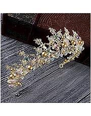 Luxe roze goud parel bruids kronen handgemaakte tiara bruid hoofdband kristal bruiloft diadeem koningin kroon bruiloft haaraccessoires (Color : Gold Crown)