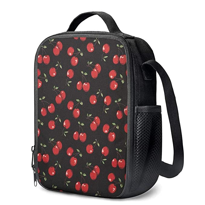 b7c8950919f2 Amazon.com: PrelerDIY Cherry Lunch Bag Carrying Tote Insulated ...